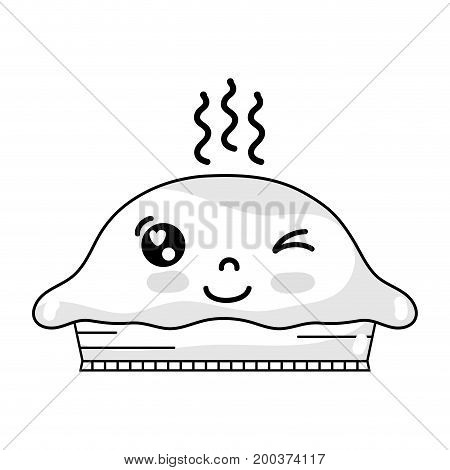 line kawaii cute funny sweet cake vector illustration