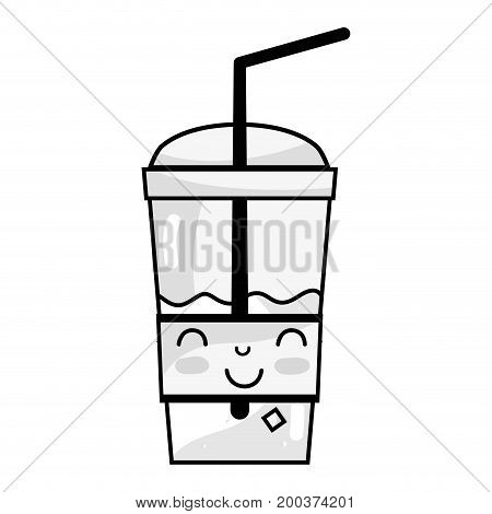 line kawaii cute happy smoothie drink vector illustration