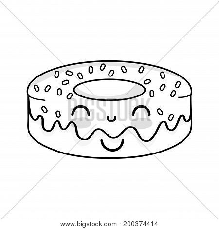 line kawaii cute happy donut sweet vector illustration