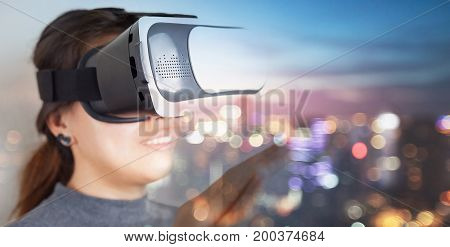 close-up woman wear vr glass have fun with new technology
