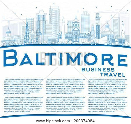 Outline Baltimore Skyline with Blue Buildings and Copy Space. Business Travel and Tourism Concept with Modern Architecture. Image for Presentation Banner Placard and Web Site.