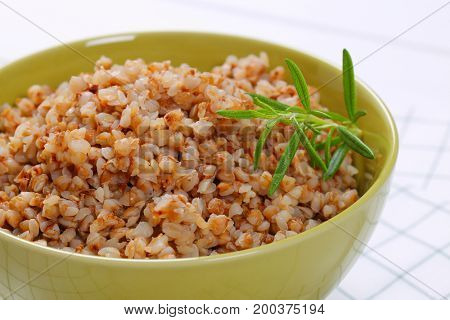 bowl of cooked buckwheat - close up