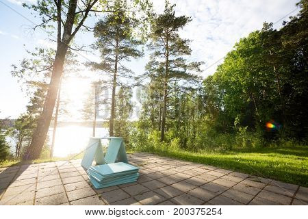 Wooden Planks On Patio In Forest During Sunny Day