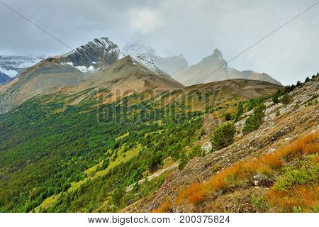 High Mountains Of The Canadian Rockies Along The Icefields Parkway Between Banff And Jasper