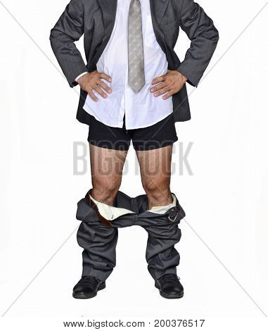Down pants businessman. Debt crisis economy concept.