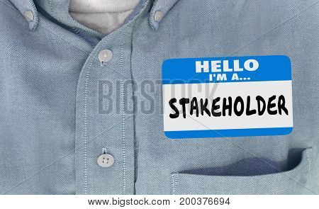 Stakeholder Name Tag Sticker Shirt 3d Illustration