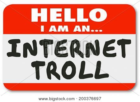 Internet Troll Mean Comments Name Tag Sticker 3d Illustration