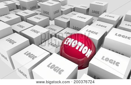 Logic Vs Emotion Cubes Sphere Feelings 3d Illustration