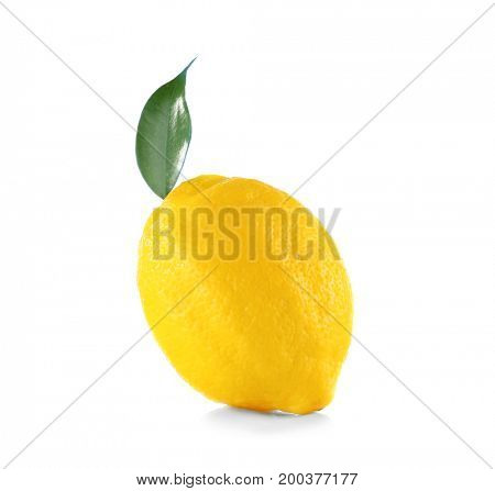 Delicious fresh lemon and leaf on white background