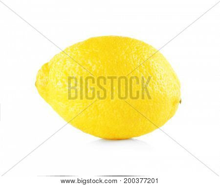 Delicious fresh lemon on white background