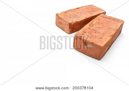 Red brick isolated on white background -Clipping path