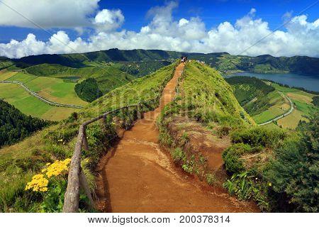 Sete Cidades landscape, Sao Miguel Island, Azores, Europe