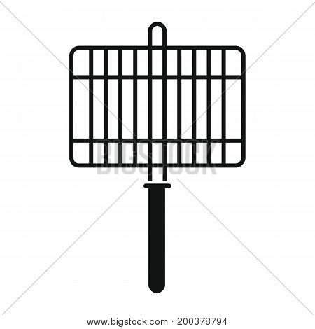 Barbecue grill in black simple silhouette style icons vector illustration for design and web isolated on white background. Barbecue grill vector object for labels advertising
