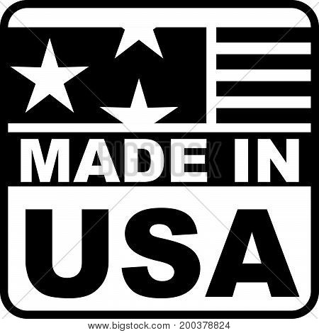 Label with a mark made in the USA