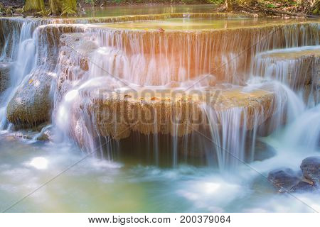 Close up natural tropical stream waterfalls natural landscape background