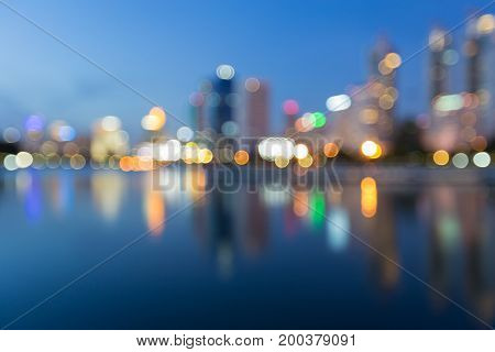 City light blurred bokeh with reflection abstract background
