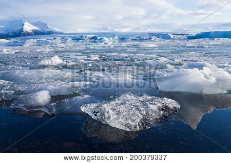 Ice on winter season lagoon Iceland natural landscape background