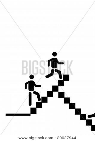 oben gehen und die Treppe hinunter laufen