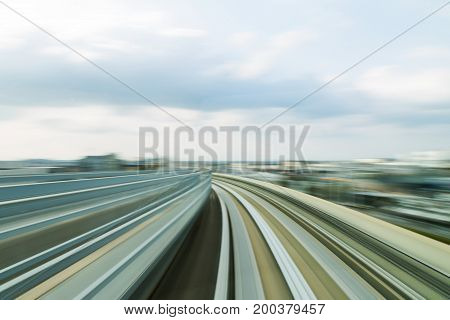 Blurred motion train moving track transportation abstract background