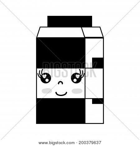 contour kawaii cute happy milk box vector illustration