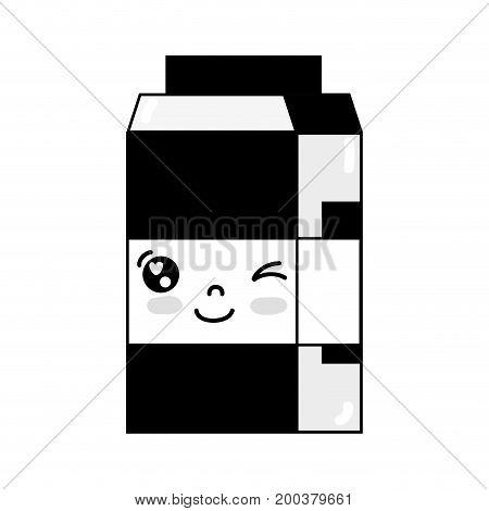 contour kawaii cute funny milk box vector illustration