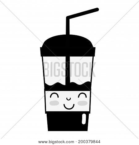 contour kawaii cute happy smoothie drink vector illustration