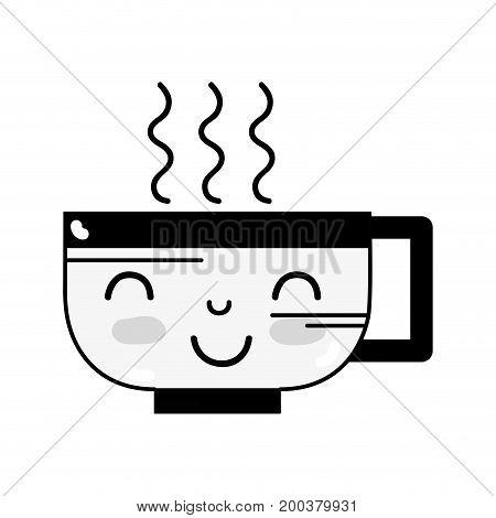 contour kawaii cute happy coffee cup vector illustration