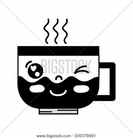 contour kawaii cute funny coffee cup vector illustration