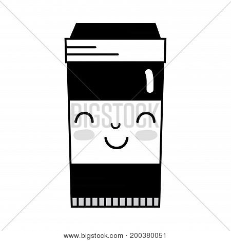 contour kawaii cute happy coffe plastic cup vector illustration
