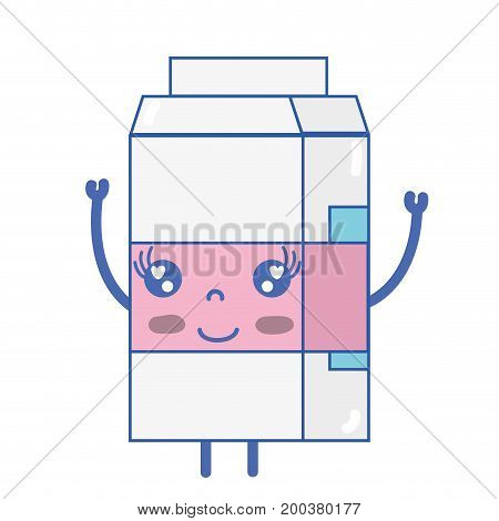 kawaii cute happy milk box vector illustration