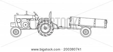 Antique Tractors with Tipping Trailer Vintage hand drawn vector line art illustration