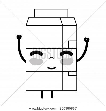 line kawaii cute happy milk box vector illustration