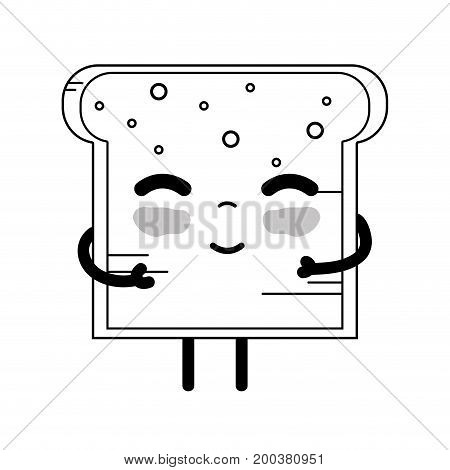 line kawaii cute tender bread nutrition vector illustration