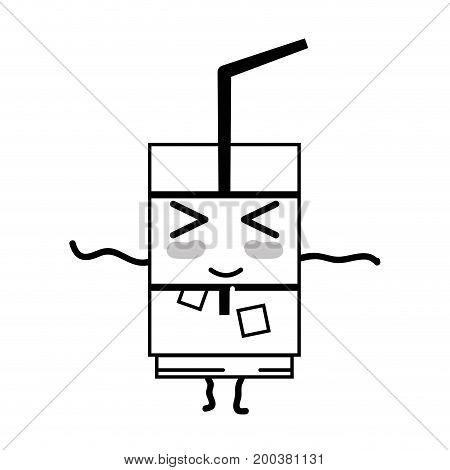 line kawaii cute happy drink beverage vector illustration