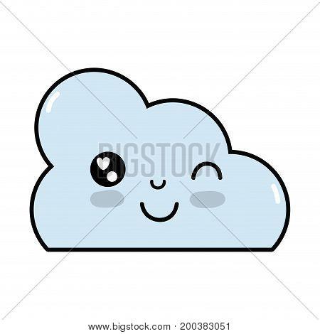 kawaii cute funny cloud weather vector illustration