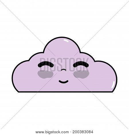 kawaii cute happy cloud weather vector illustration