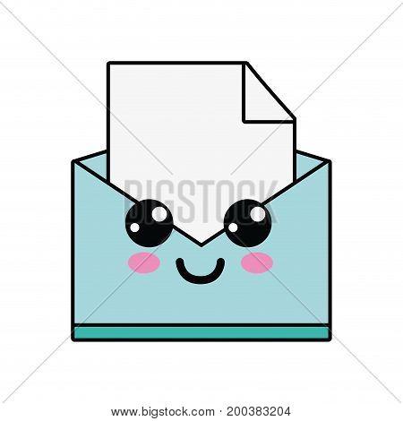 kawaii cute happy file message vector illustration