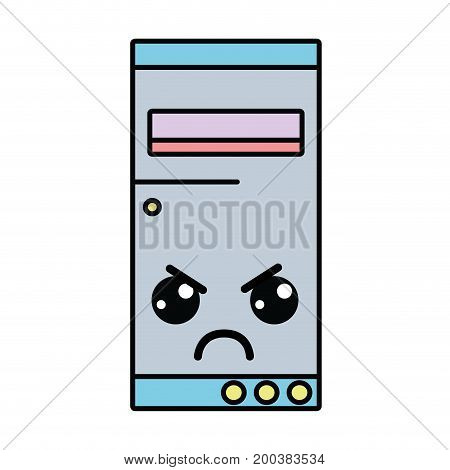 kawaii cute angry hard drive vector illustration