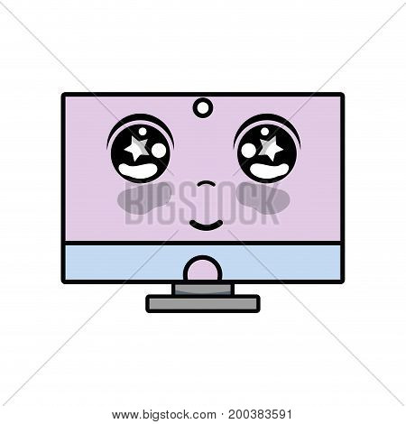 kawaii cute happy computer technology vector illustration