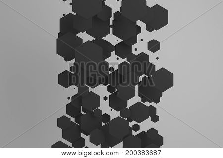 Black Hexagons Of Random Size On White Background