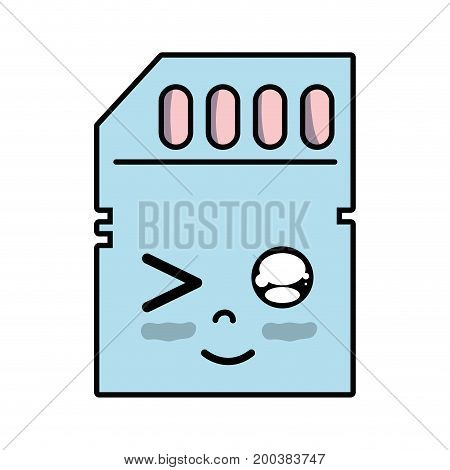 kawaii cute funny micro sd vector illustration
