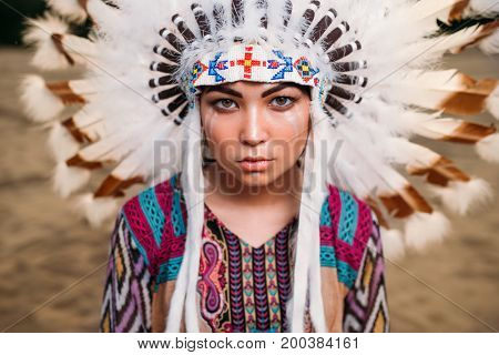 Face of American Indian woman, Cherokee, Navajo