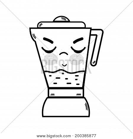 line kawaii cute angry blender technology vector illustration