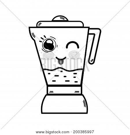 line kawaii cute funny blender technology vector illustration