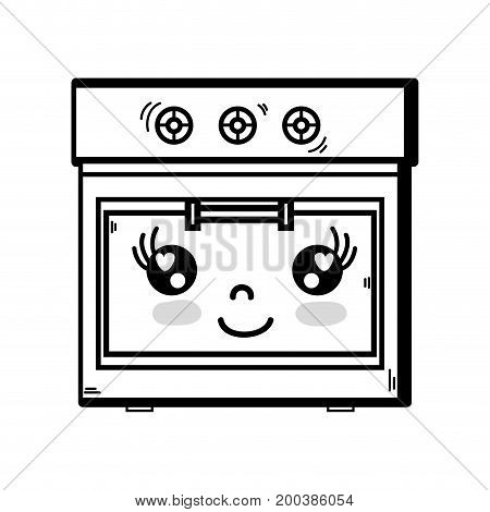 line kawaii cute happy oven technology vector illustration