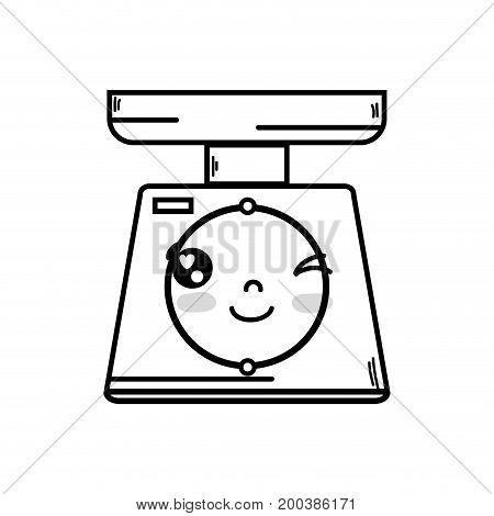 line kawaii cute funny oweight machine vector illustration