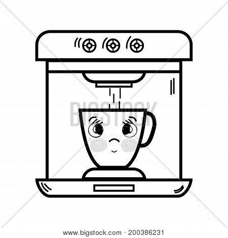 line kawaii cute tender coffee maker technology vector illustration