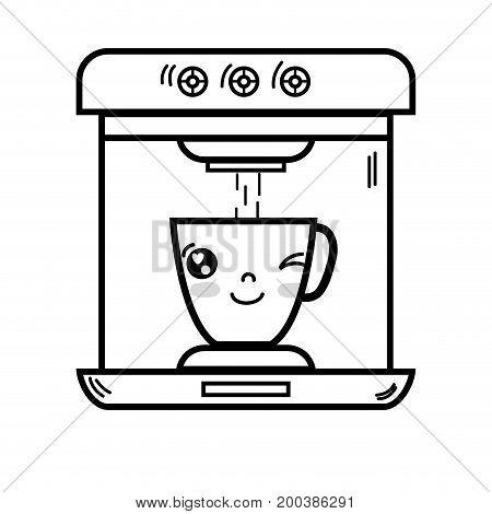 line kawaii cute funny coffee maker technology vector illustration