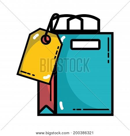shopping bag with tag to marketing strategy vector illustration