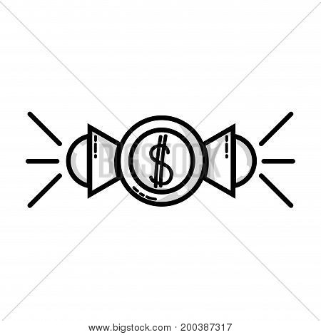 line marketing with megaphones and coins strategy business vector illustration